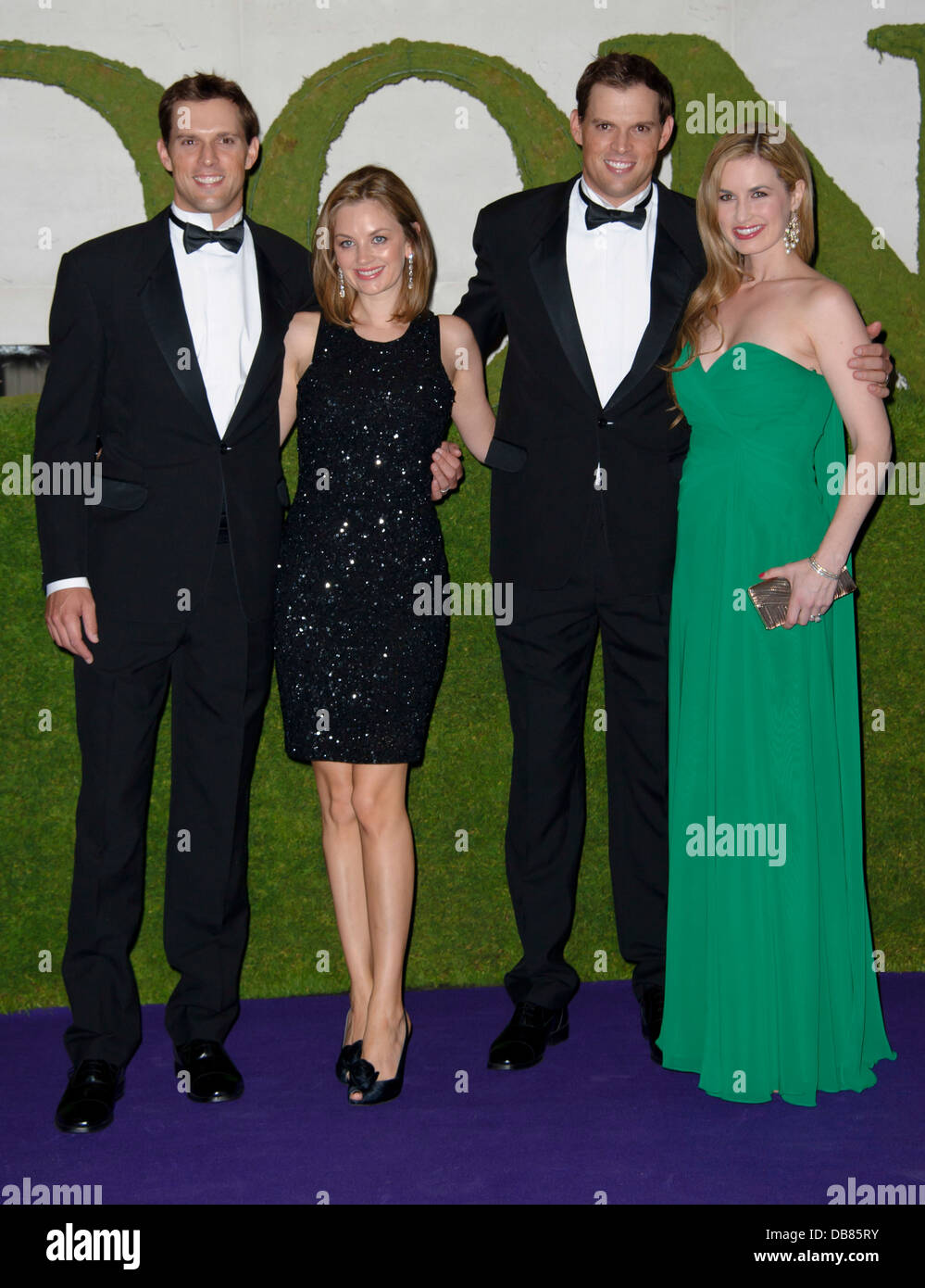 Mike Bryan and Bob Bryan, with unidentified guests, arrive for the Wimbledon Champions Dinner 2013, London. - Stock Image