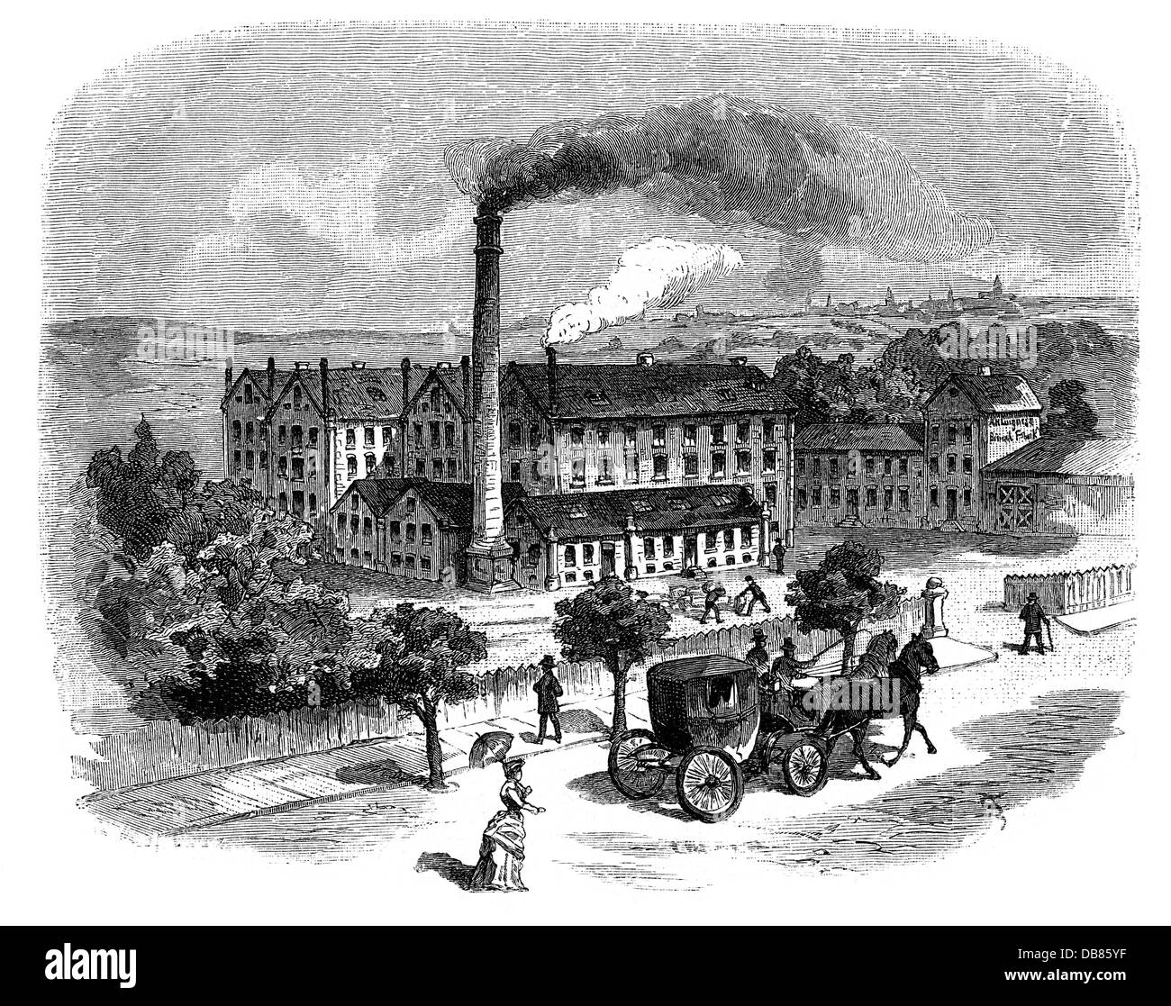industry, food, sponge, biscuit factory of Langnese, Eppendorf, exterior view, wood engraving, 1884, Additional - Stock Image