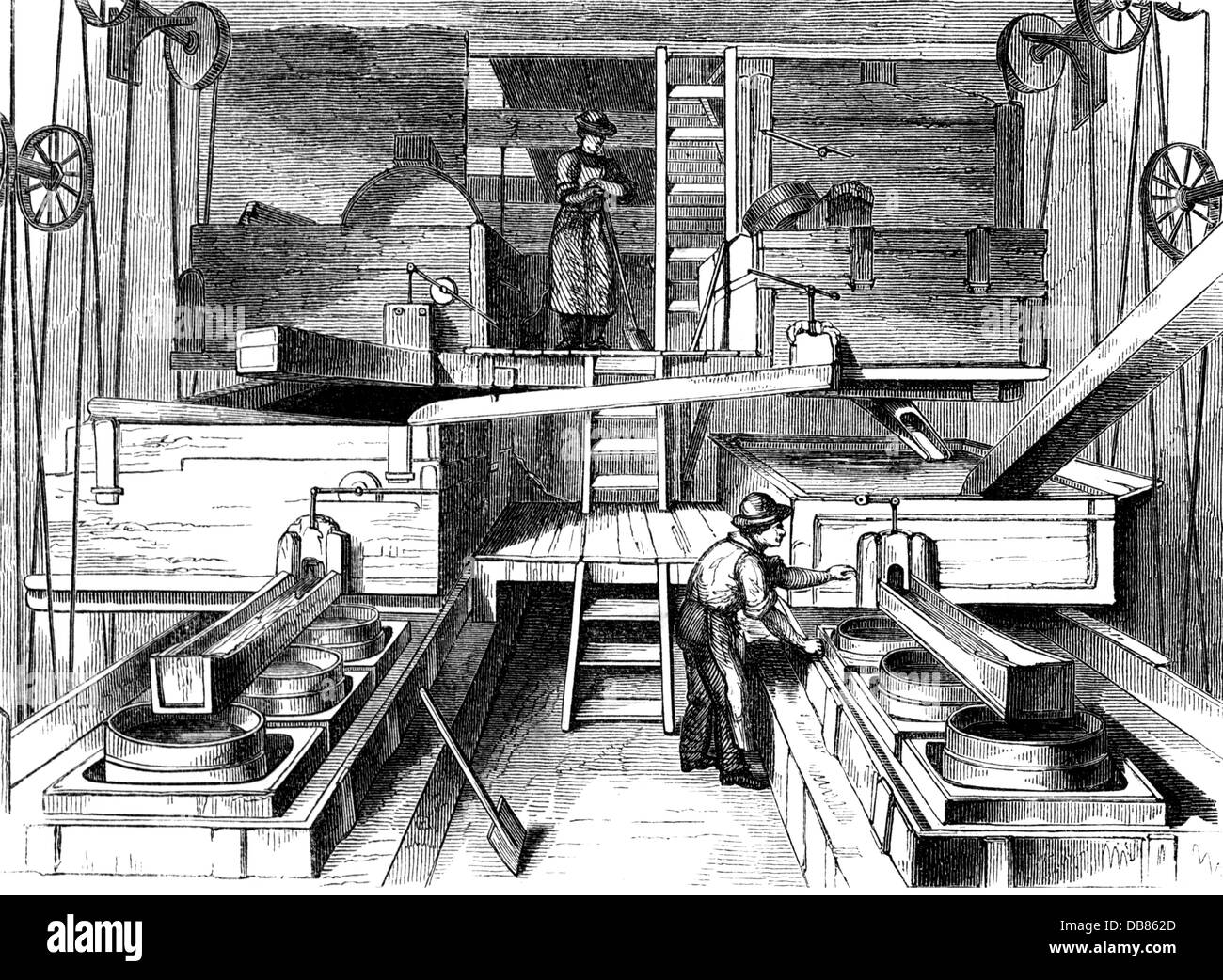 industry, ceramic, porcelain, elutriation machine of the Meissen porcelain factory, wood engraving, circa 1865, - Stock Image