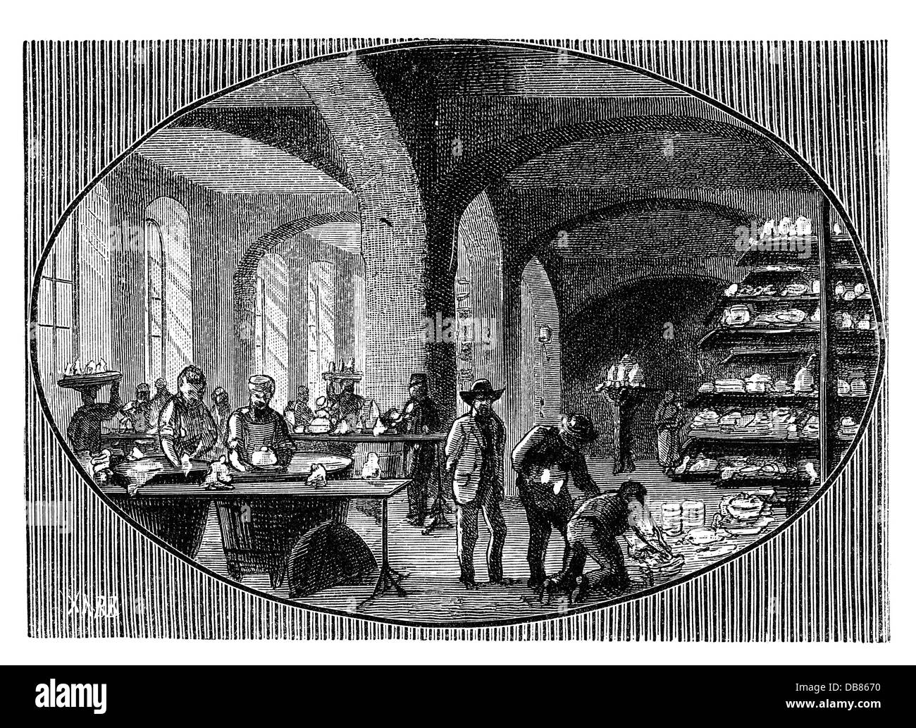 industry, porcelain, glazing room, Meissen porcelain factory, wood engraving by Robert Brend'amour, 2nd half - Stock Image