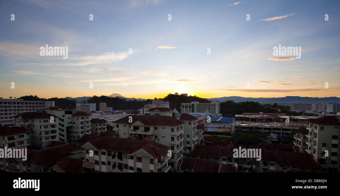 View of Kota Kinabalu city at sunset, Sabah, Malaysia - Stock Image