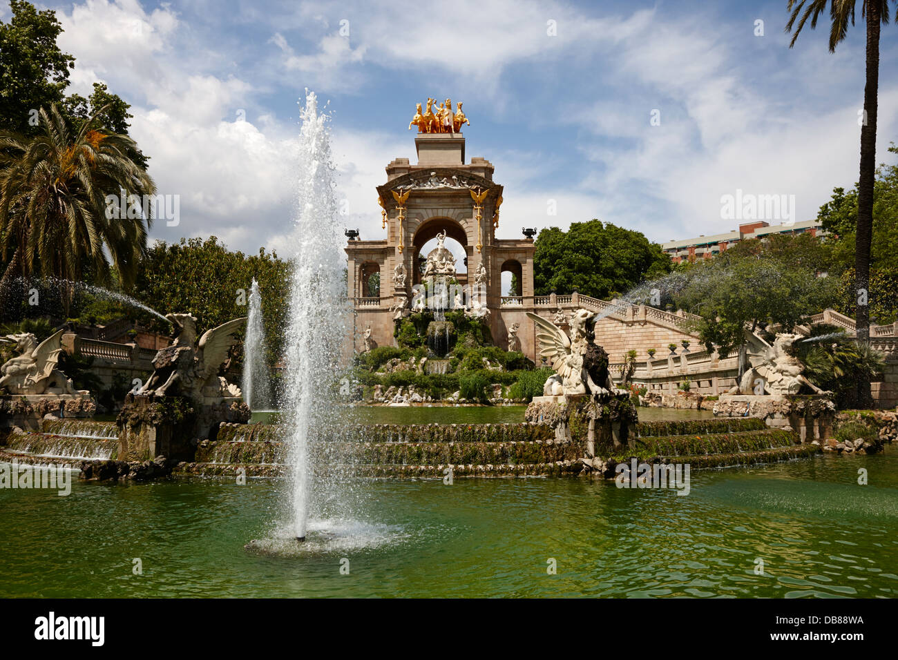 fontana monumental Parc de la Ciutadella Barcelona Catalonia Spain - Stock Image