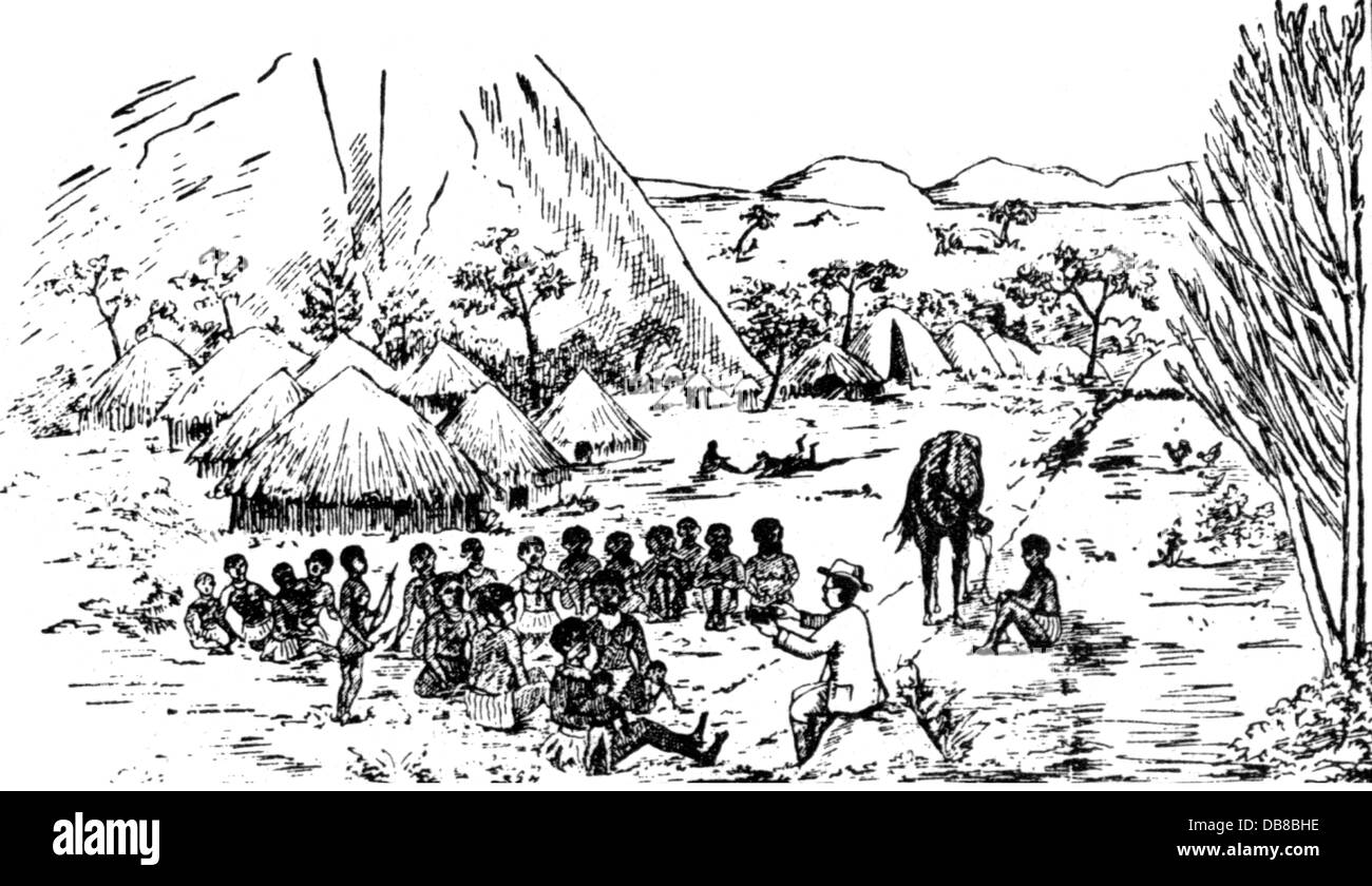 colonialism, missionary with natives, wood engraving, 19th century, 19th century, imperialism, colonial supremacy, - Stock Image