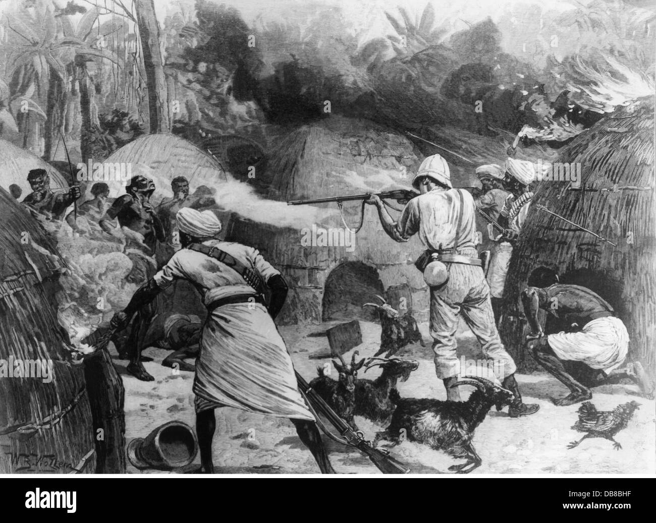 colonialism, Africa, Emin Pascha Relief Expedition 1886 - 1889, Henry Morton Stanley fighting against natives in - Stock Image