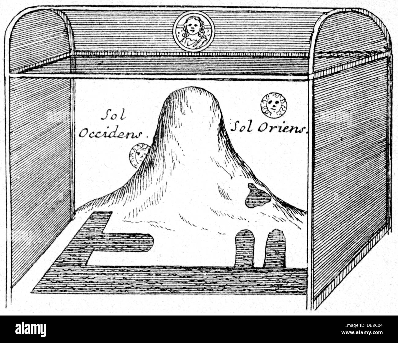 astronomy, world picture of the Cosmas Indicopleustes, the world as mountain in a tabernacle, 'Topographia Christiana', - Stock Image