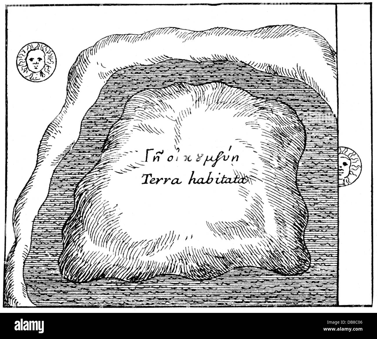astronomy, world view of the Cosmas Indicopleustes, ground plan of the mountain which the forms the world, 'Topographia - Stock Image