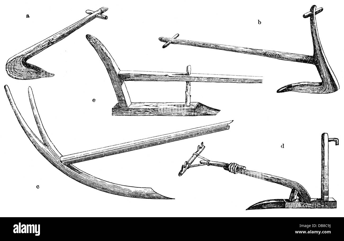 agriculture, devices, plough, miscellaneous ploughs, a: hoe, b: Ancient Greek plough, c: ancient Egyptian plough, - Stock Image