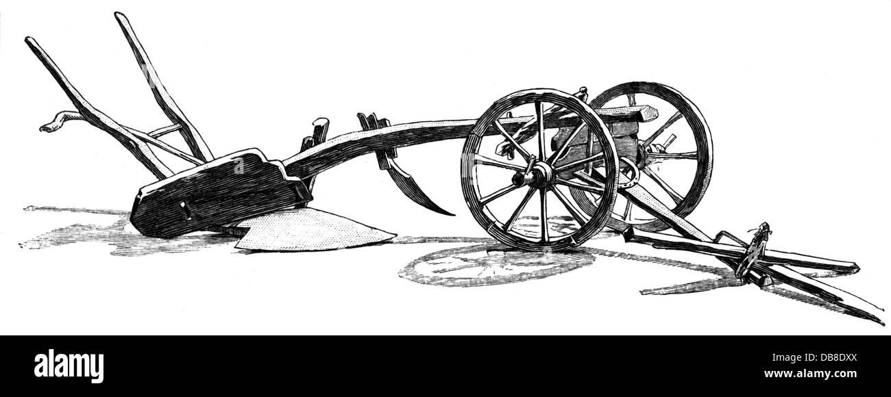 agriculture, tools, traditional Polish plough, wood engraving, 19th century, 19th century, graphic, graphics, tillage, - Stock Image