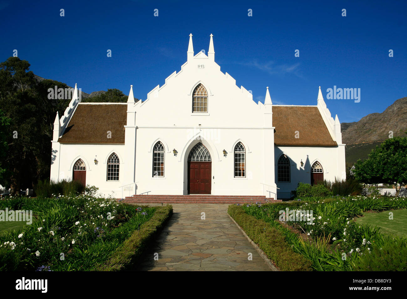 Dutch Huguenot church in Franschhoek, the Wine Route, Western Cape, South Africa, - Stock Image