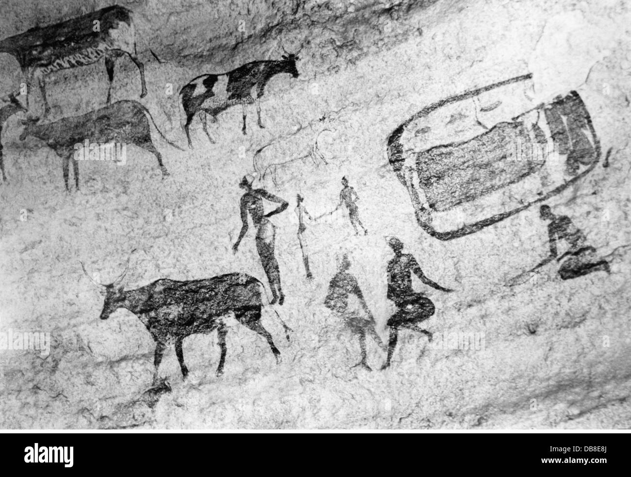 Prehistory Fine Arts Cave Painting People And Cattle Algeria