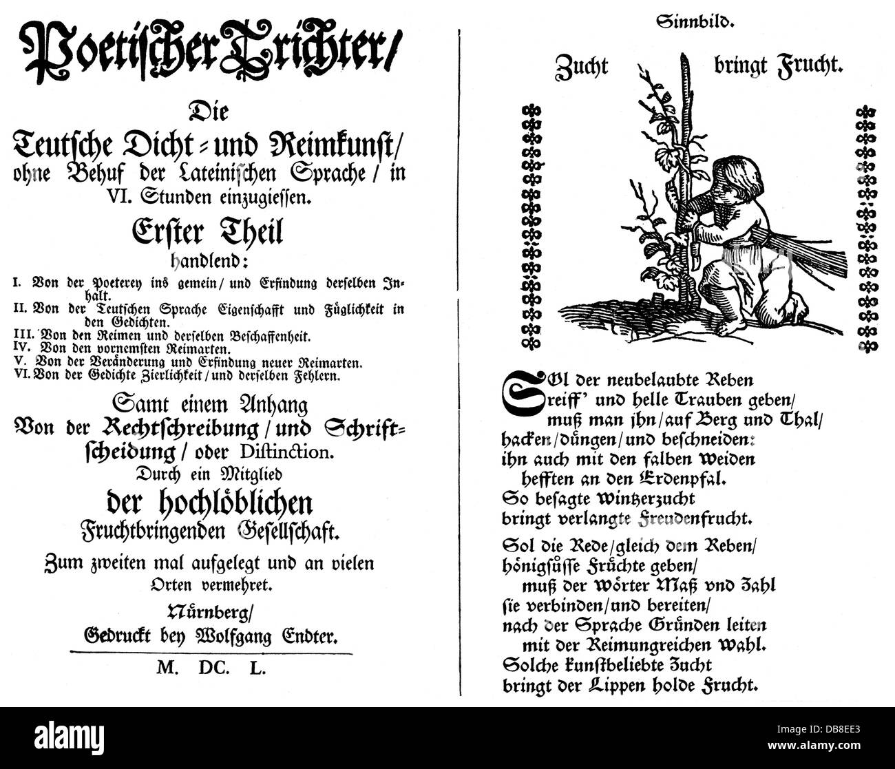 literature, titles and title pages, 'Poetic Funnel' (Poetischer Trichter) published by Georg Philipp Harsdörffer - Stock Image