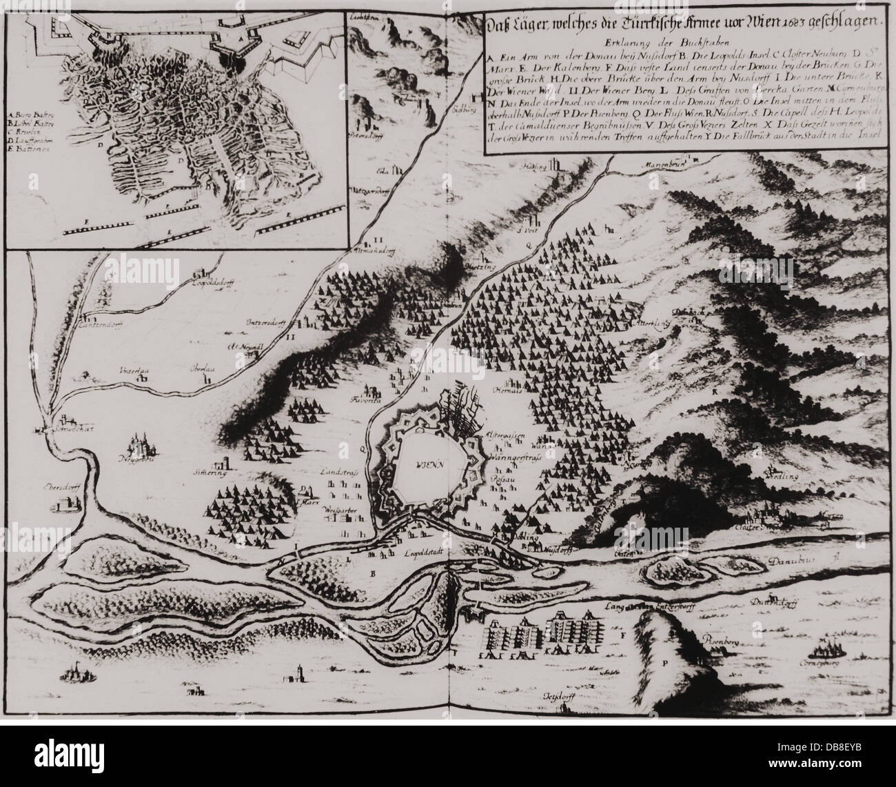 Great Turkish War 1683 - 1699, Siege of Vienna, 14.7 - 12.9.1683, map,  surroundings of the city and the Turkish trenches, contemporary copper  engraving, ...