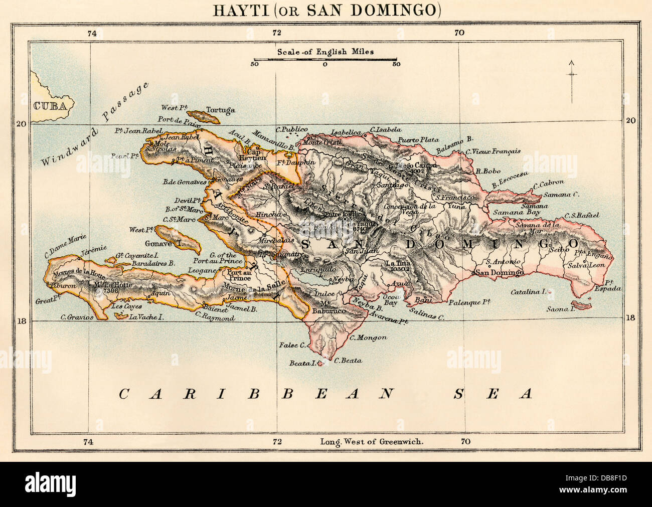 Map of Hispaniola, including Haiti and Santo Domingo, 1870s. Color lithograph - Stock Image