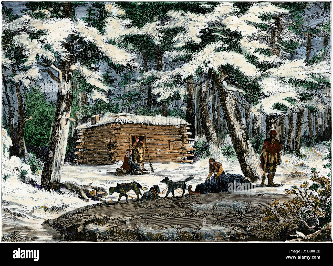 Winter hut of settlers in Saskatchewan, Canada. Hand-colored woodcut - Stock Image