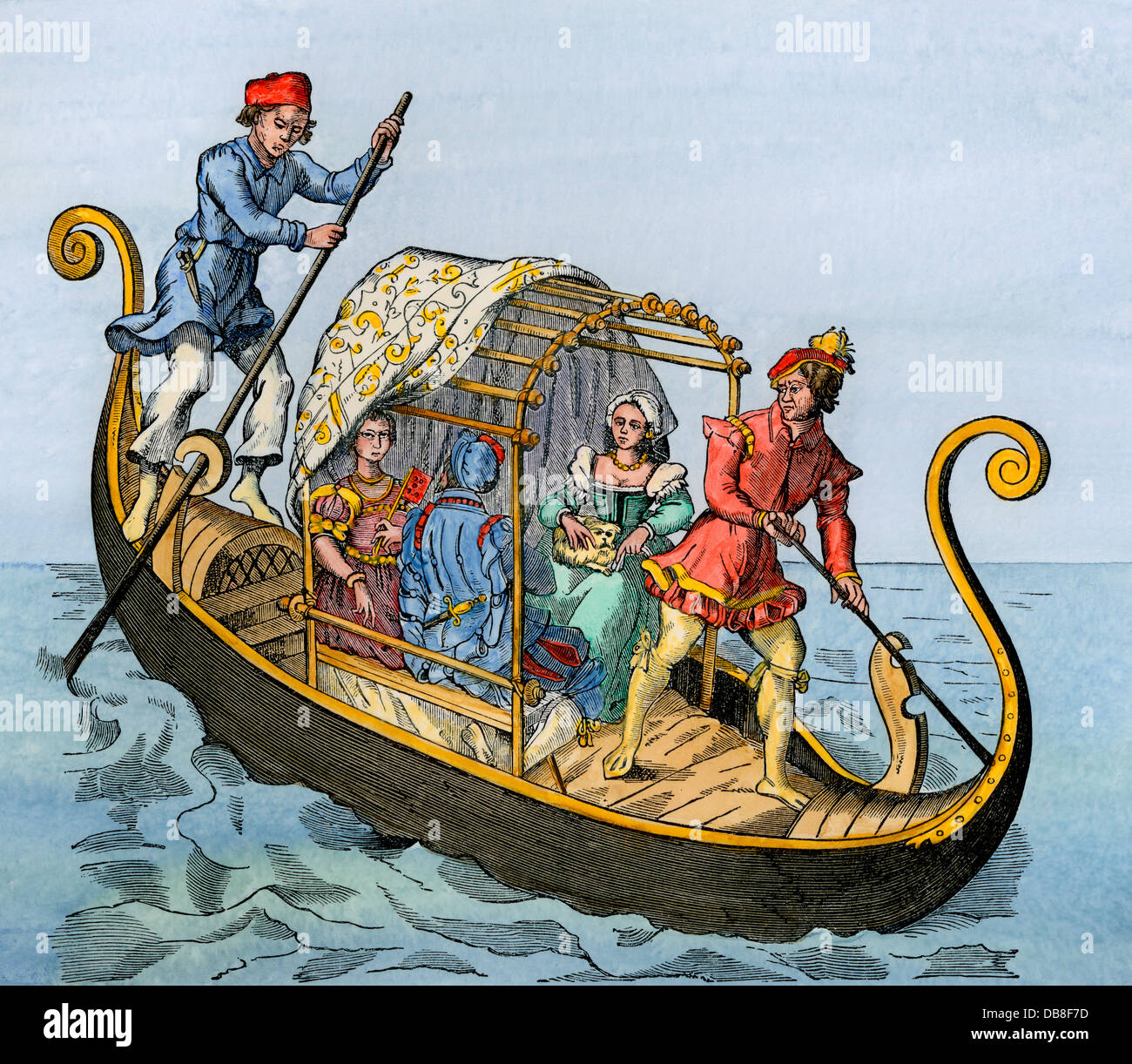 Venetian gondola, 1500s. Hand-colored woodcut - Stock Image