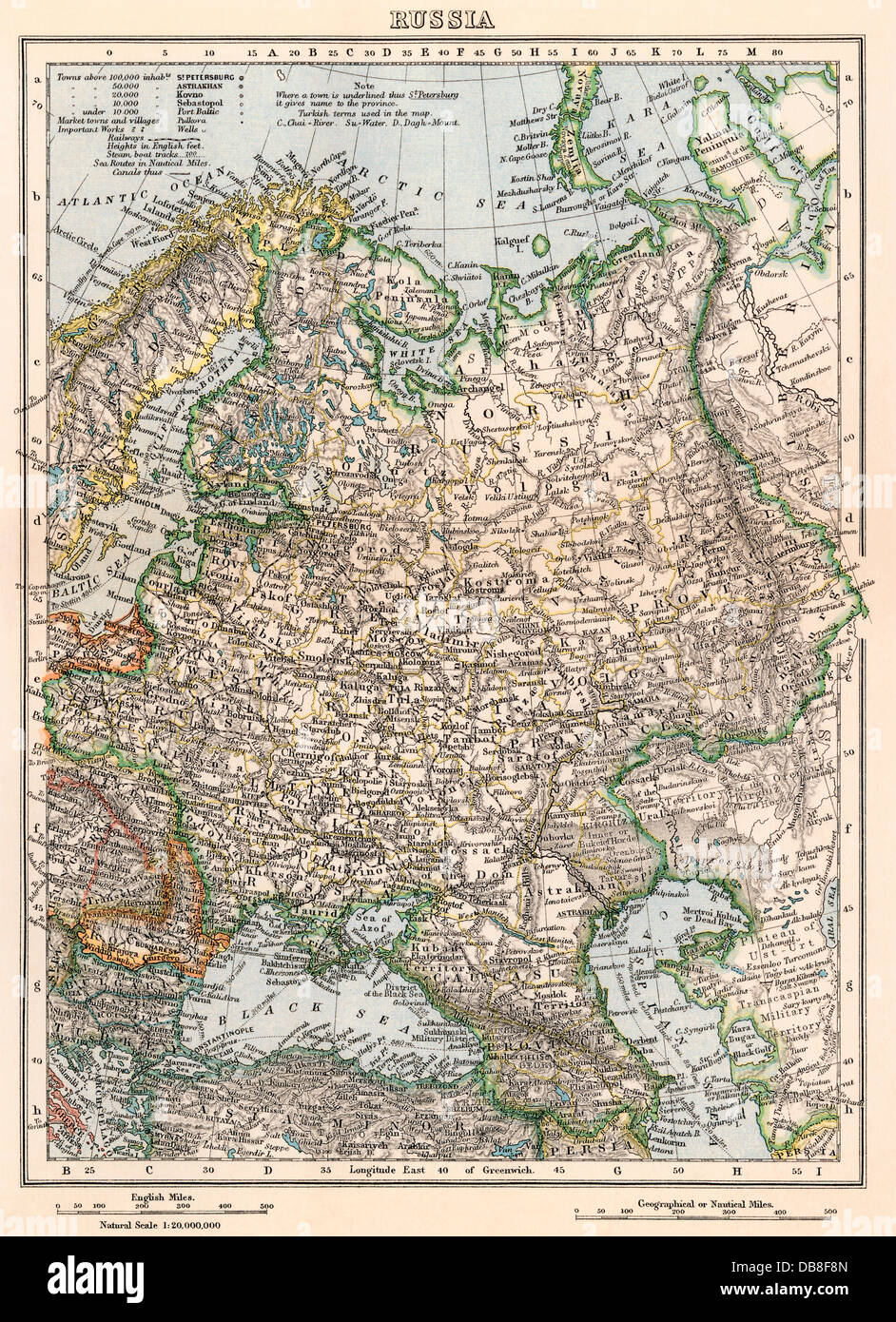 Map of Russia, late 1800s. Color lithograph - Stock Image