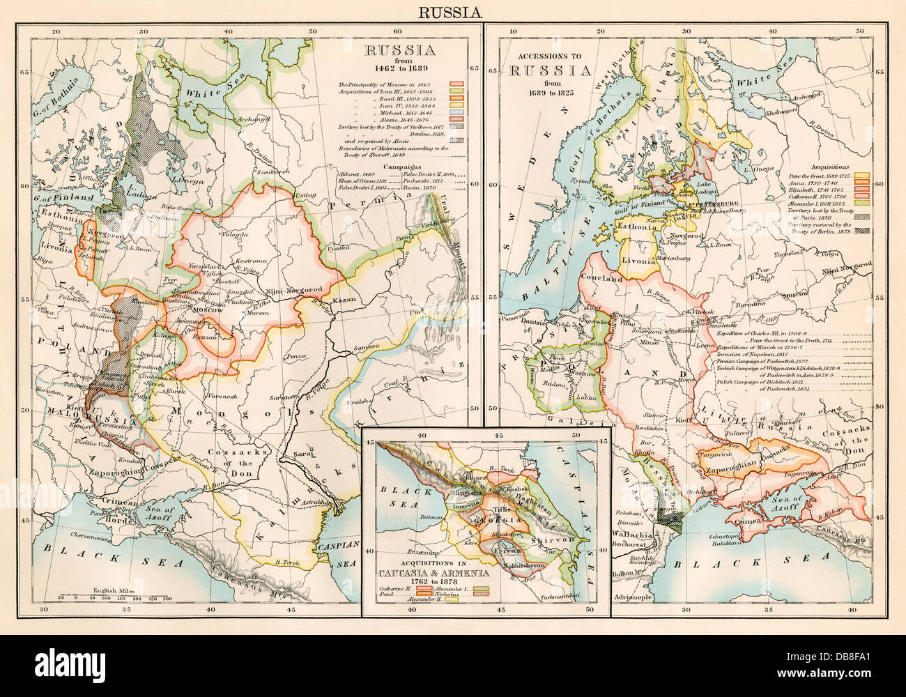 Russia 1462-1689 (left); lands added to Russian Empire 1689-1825 (right), plus Armenia and Caucasia (inset). Color Stock Photo