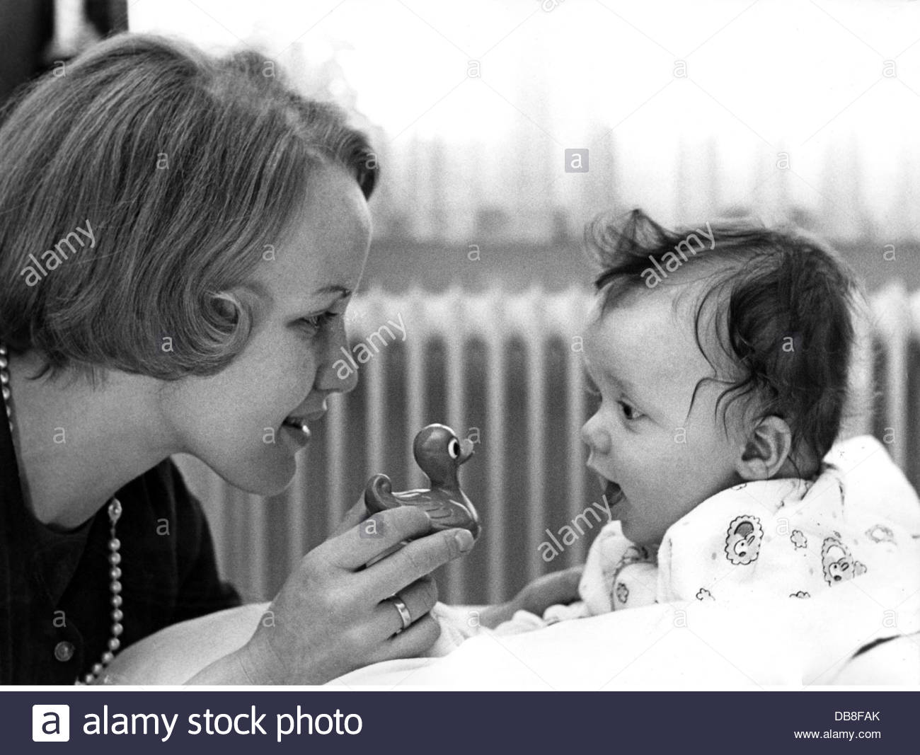 people, family, mother with son, daughter, mother playing with baby, 1960s, Additional-Rights-Clearences-NA - Stock Image