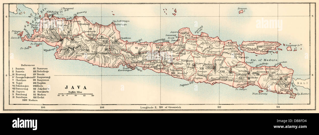 Map of Java, 1870s. Color lithograph - Stock Image