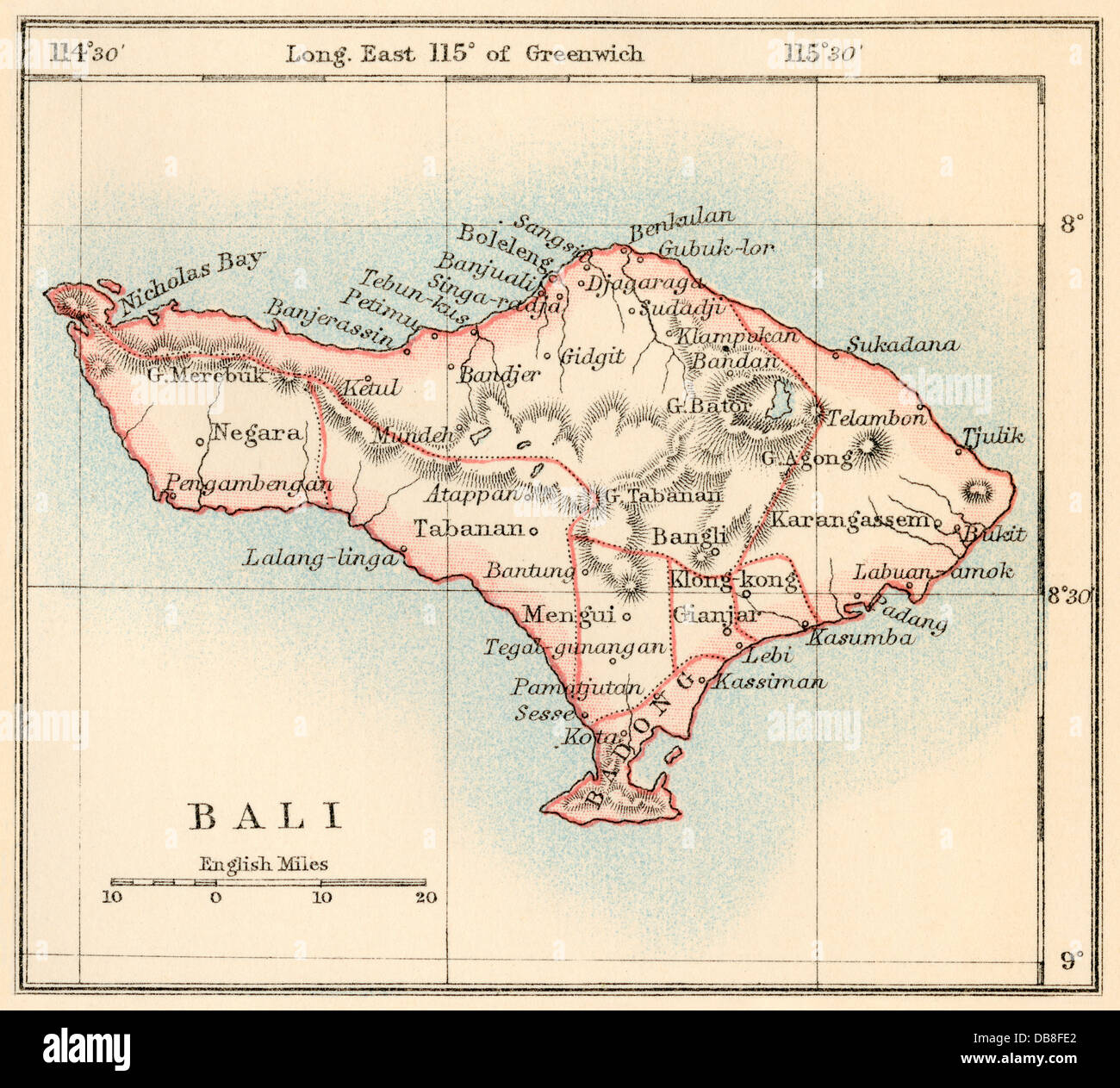 Map of Bali, 1870s. Color lithograph - Stock Image