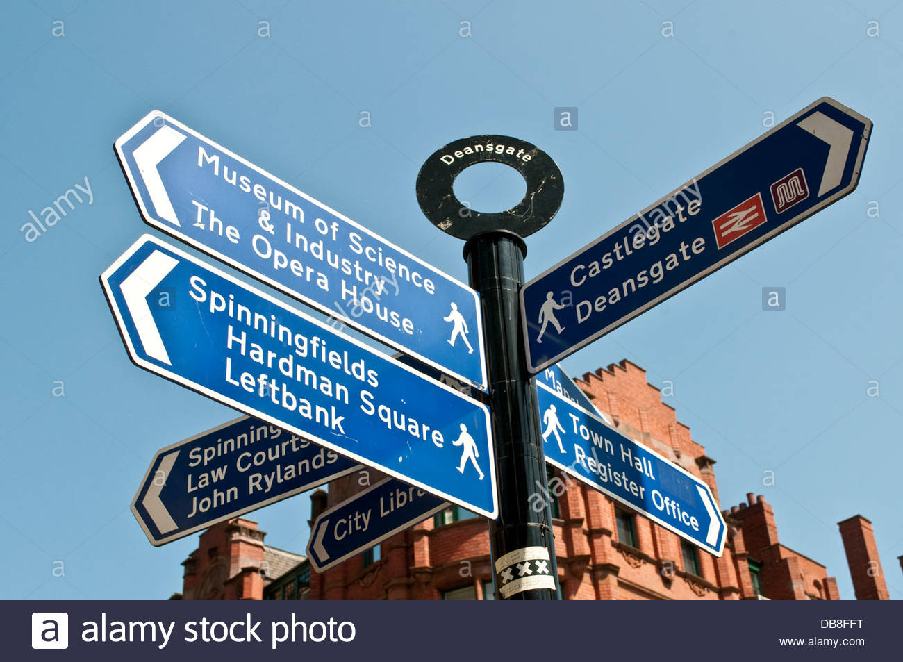 Signpost for different city sites, Manchester, UK - Stock Image