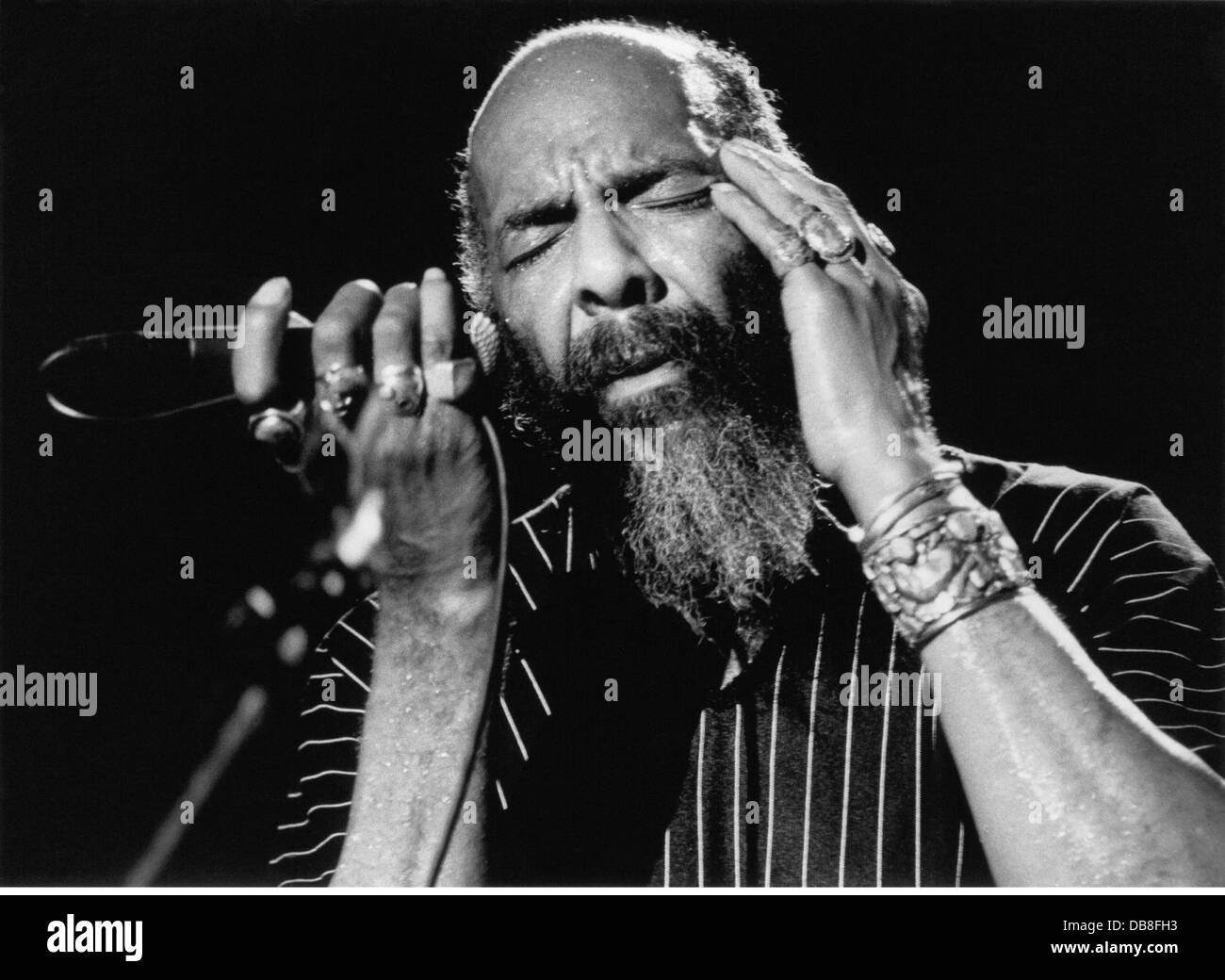 Havens, Richie, 21.1.1941 - 22.4.2013, American musician (folk music), singer, portrait, during stage performance, - Stock Image