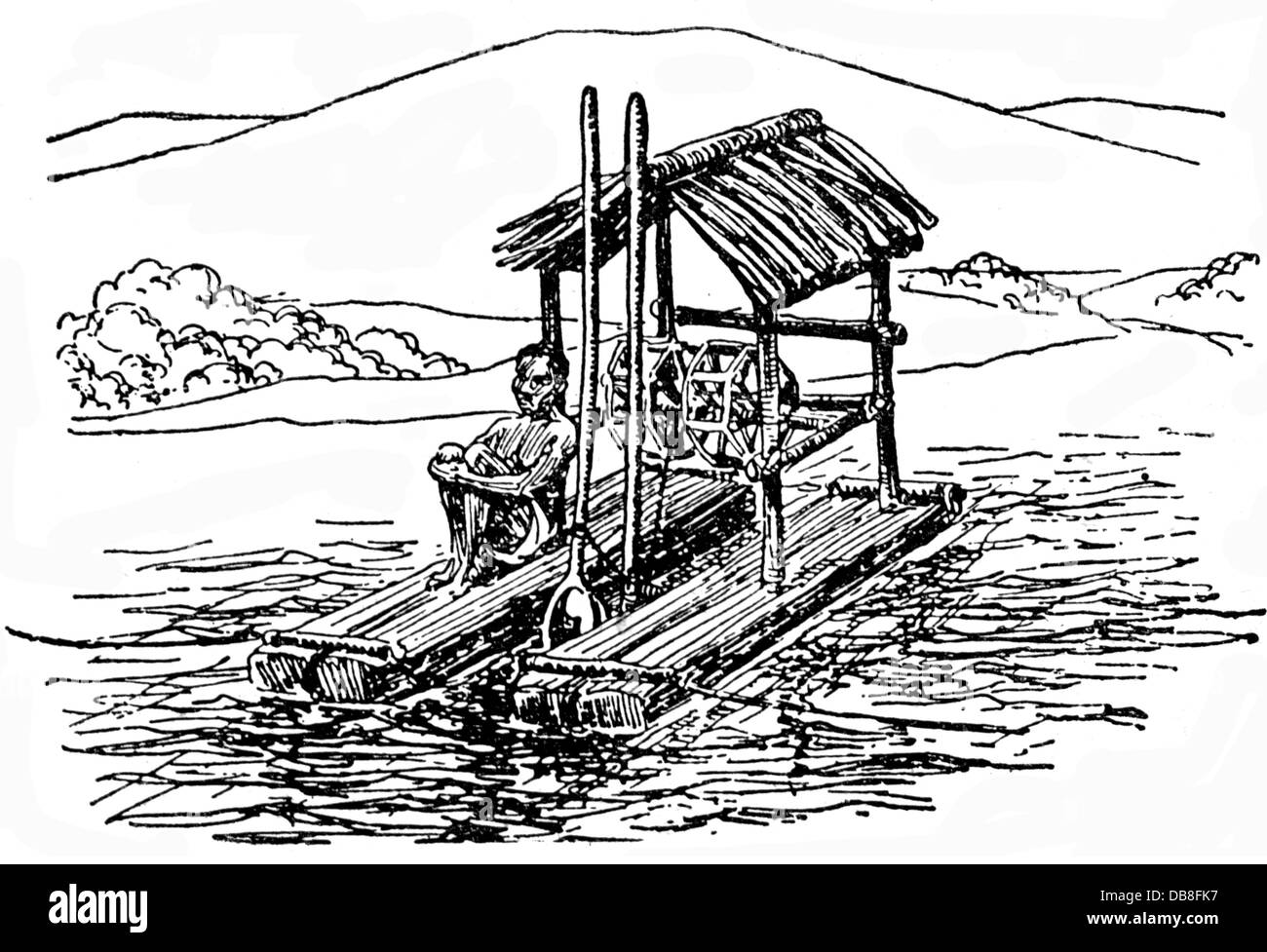 metal, gold, primitive digger for gold sand, Philippines, drawing, 20th century, 20th century, graphic, graphics, - Stock Image