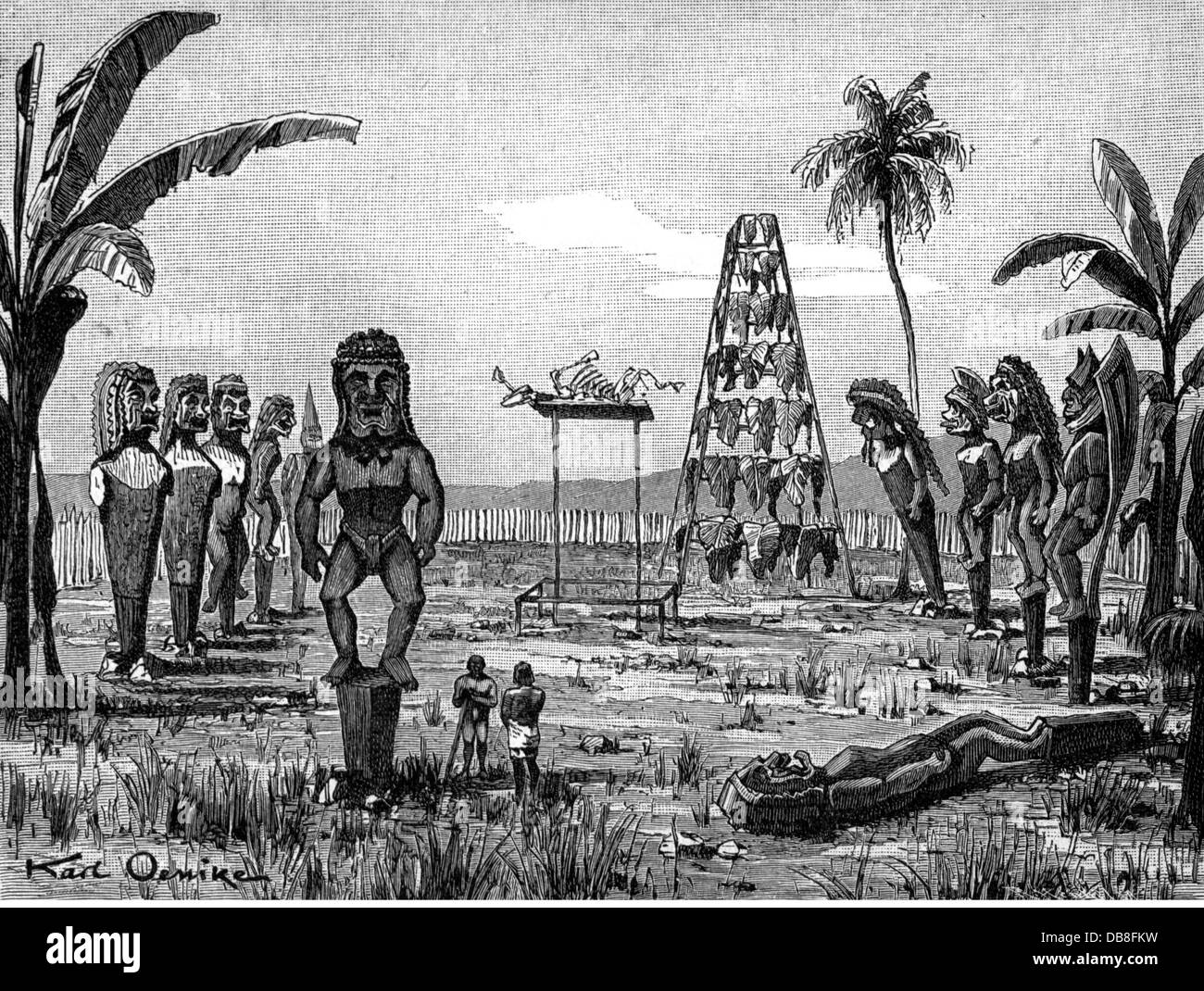 geography / travel, USA, countries, Hawaii, religion, cult site with Marae, wood engraving after drawing by Karl - Stock Image