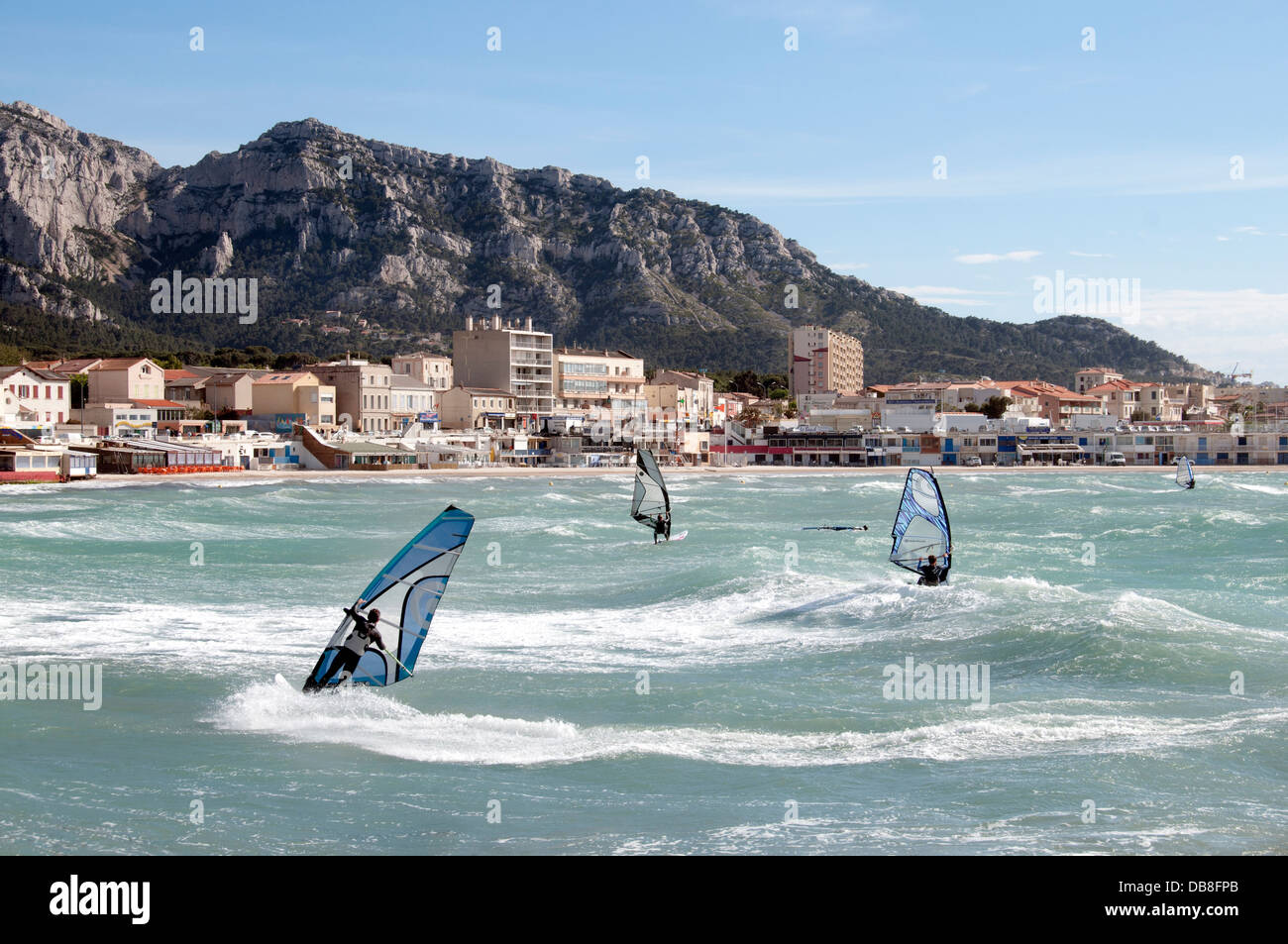 Windsurfing Kitesurfing Paddle Boarding spot Pointe Rouge ( Prado ) Marseilles France French - Stock Image