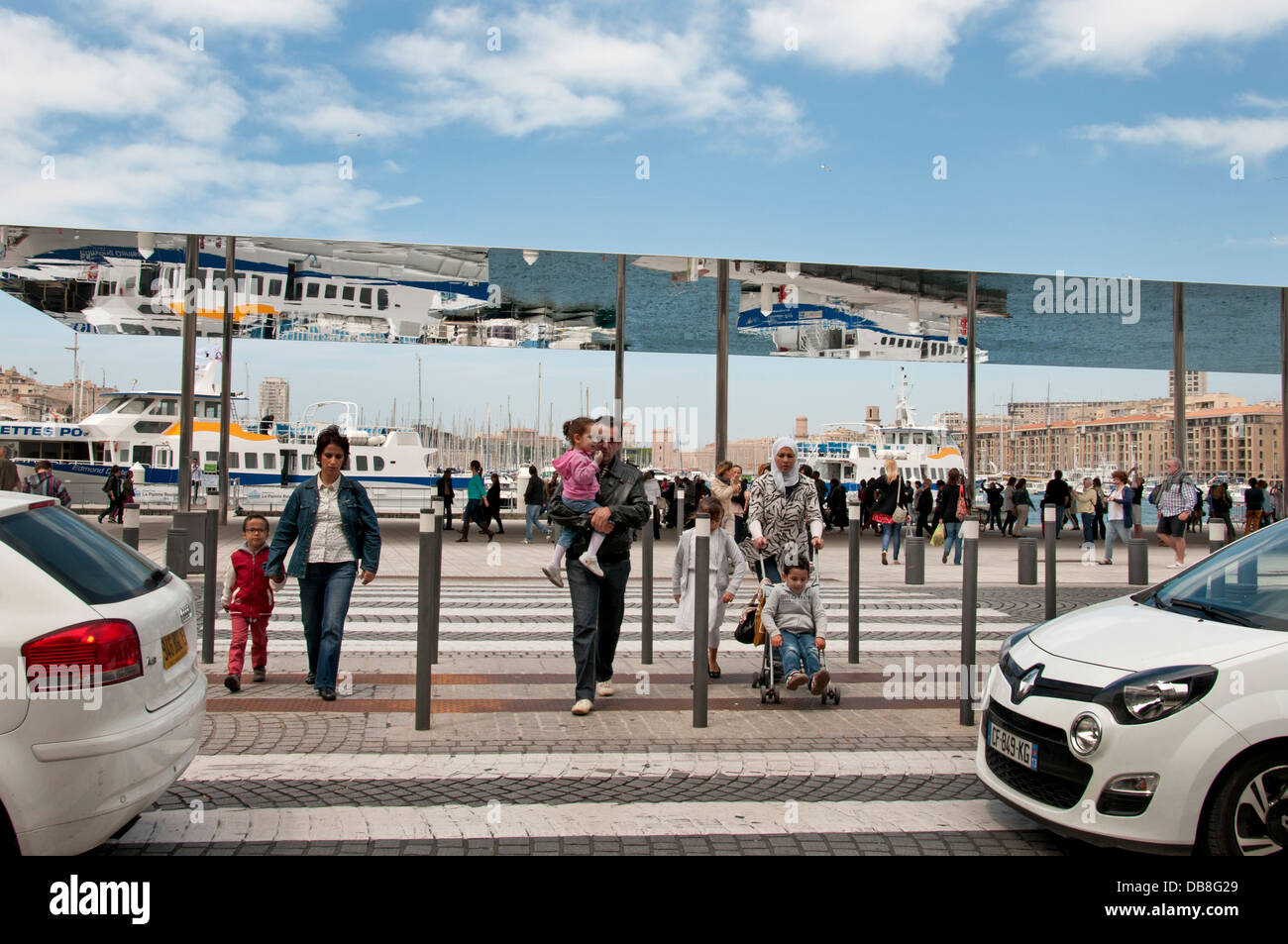 Reflections in Norman Foster Canopy on Quai des Belges Old Vieux  Port Marseilles France - Stock Image
