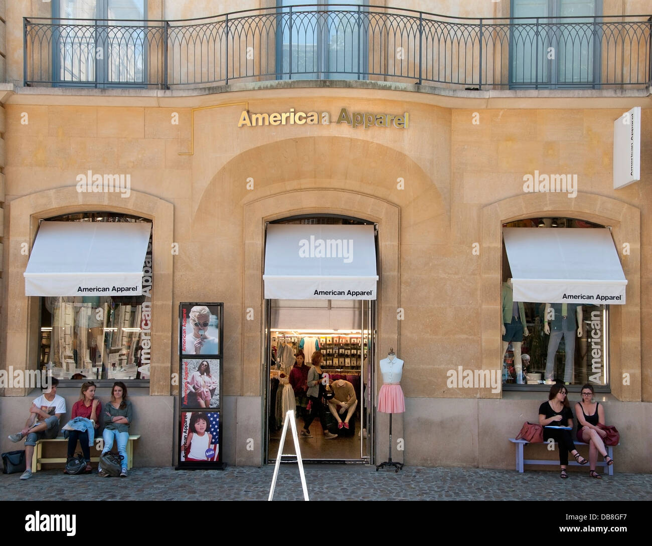 American Apparel fashion shop Aix En Provence France French old town city center - Stock Image