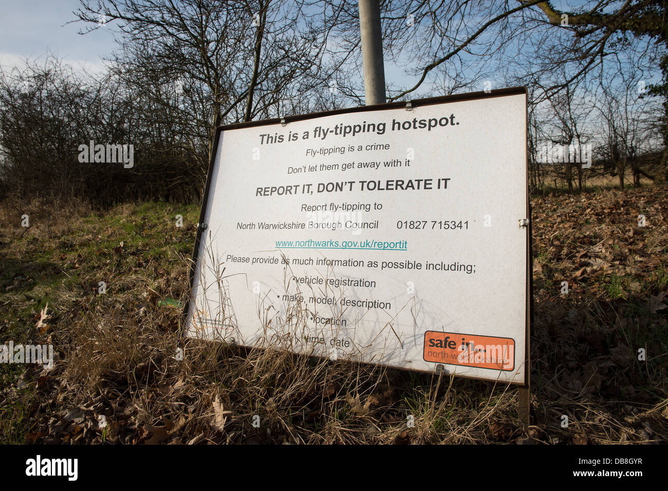 Anti fly-tipping sign in Warwickshire, England. - Stock Image