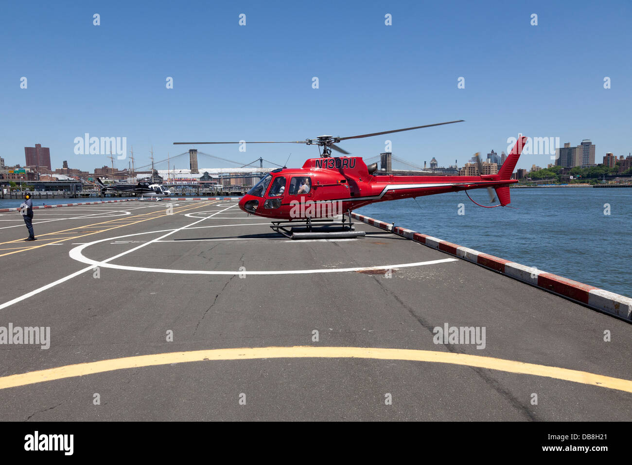 Helicopter at Downtown Manhattan Heliport, New York City - Stock Image