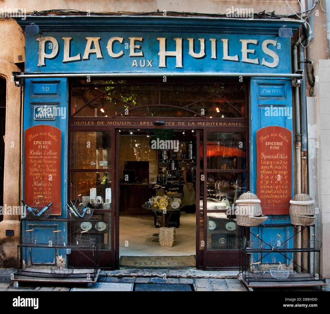 Place aux Huiles olive oil shop Aix En Provence France French old town city center - Stock Image