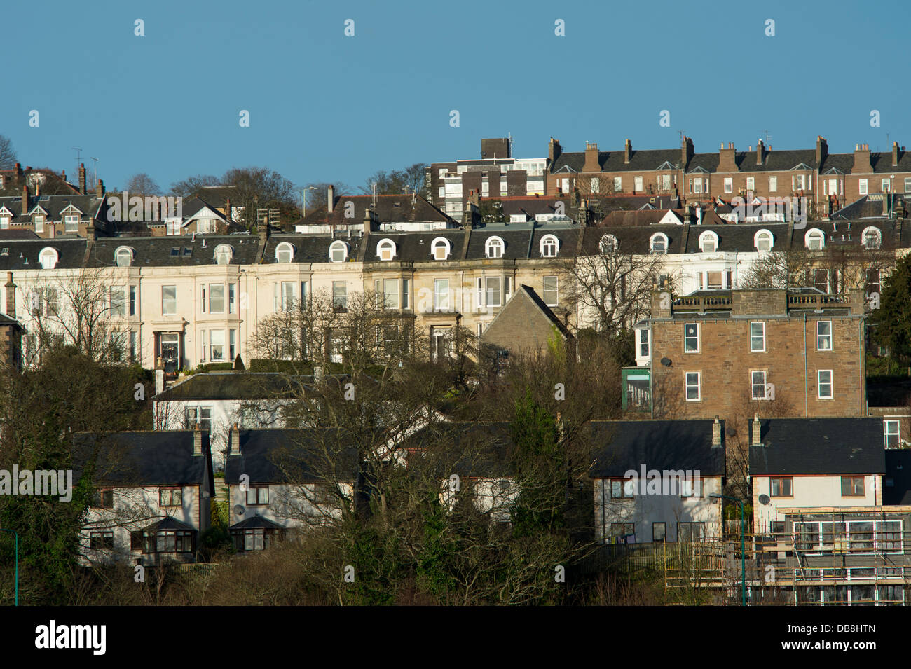 Rows of terraced houses in the city of Dundee, Scotland. - Stock Image
