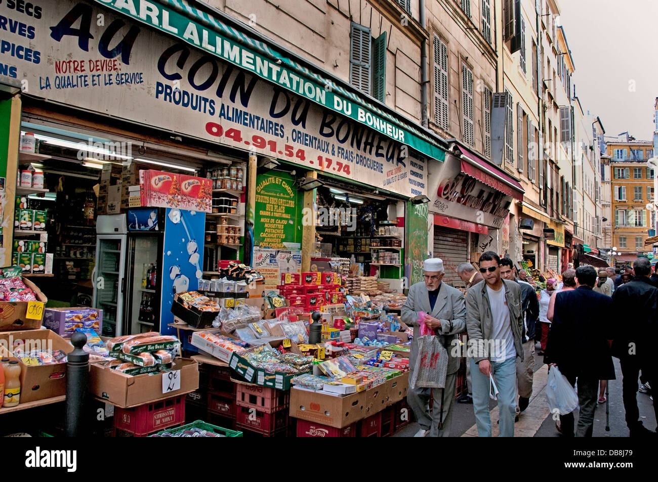 Marseilles French Noailles the city's Arab quarter food market north of Vieux Port France French Stock Photo