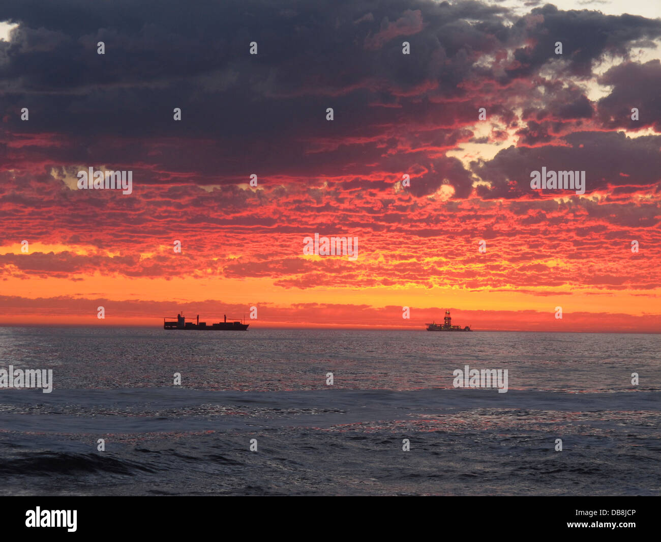 sunset, Atlantic seaboard, Sea Point, Cape Town - Stock Image