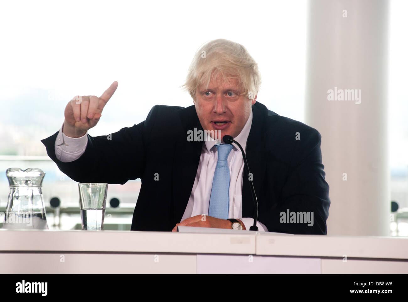 London, UK - 25 July 2013: Mayor of London, Boris Johnson speaks during the press conference to examine the legacy Stock Photo