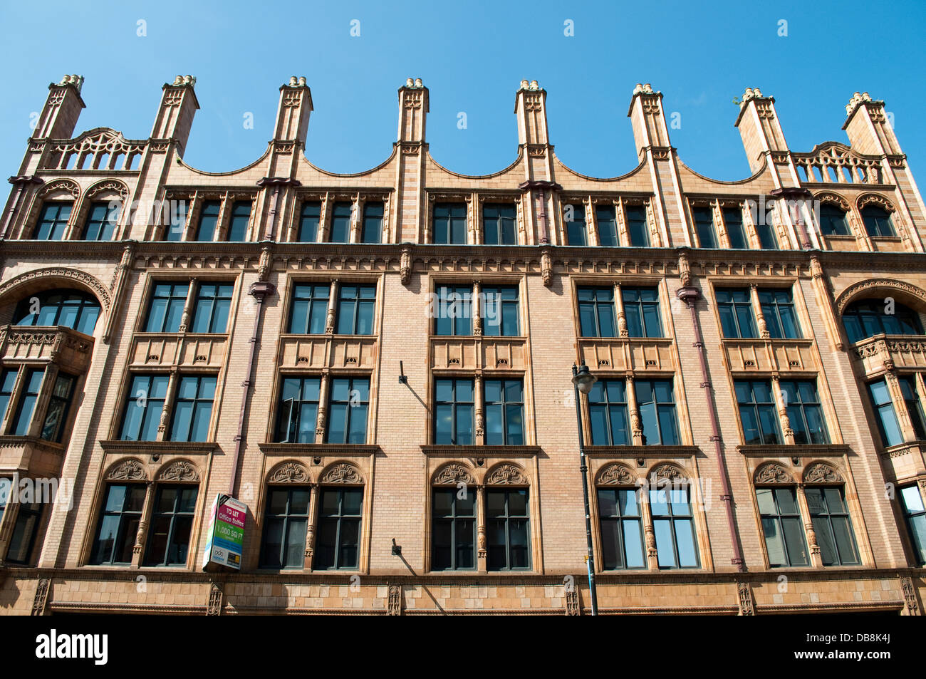 Historic brick building on Lower Mosley Street, Manchester, UK - Stock Image