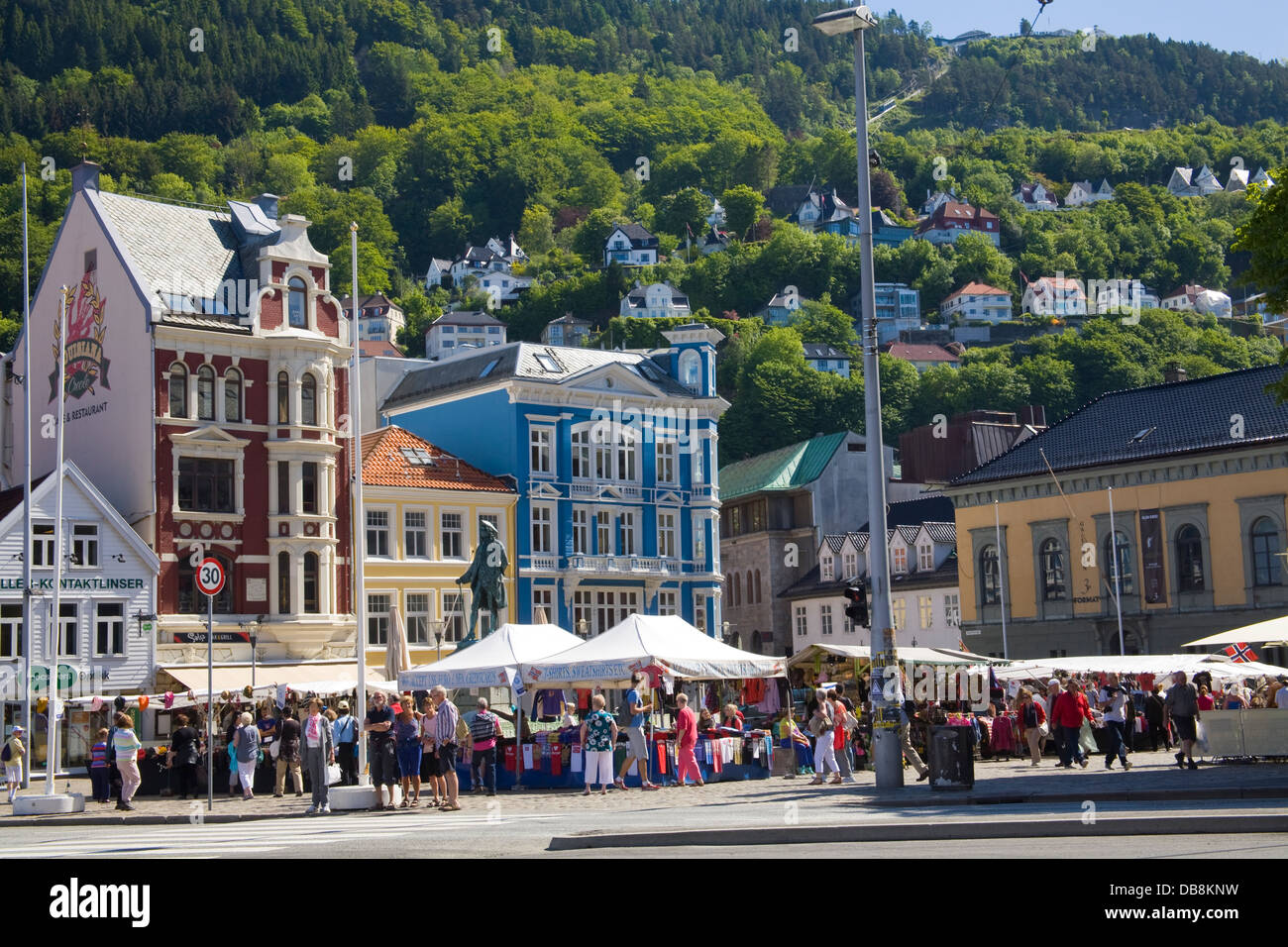 Bergen Norway Europe Popular market stalls on Vågsallmenningen busy with shoppers looking for souvenirs - Stock Image