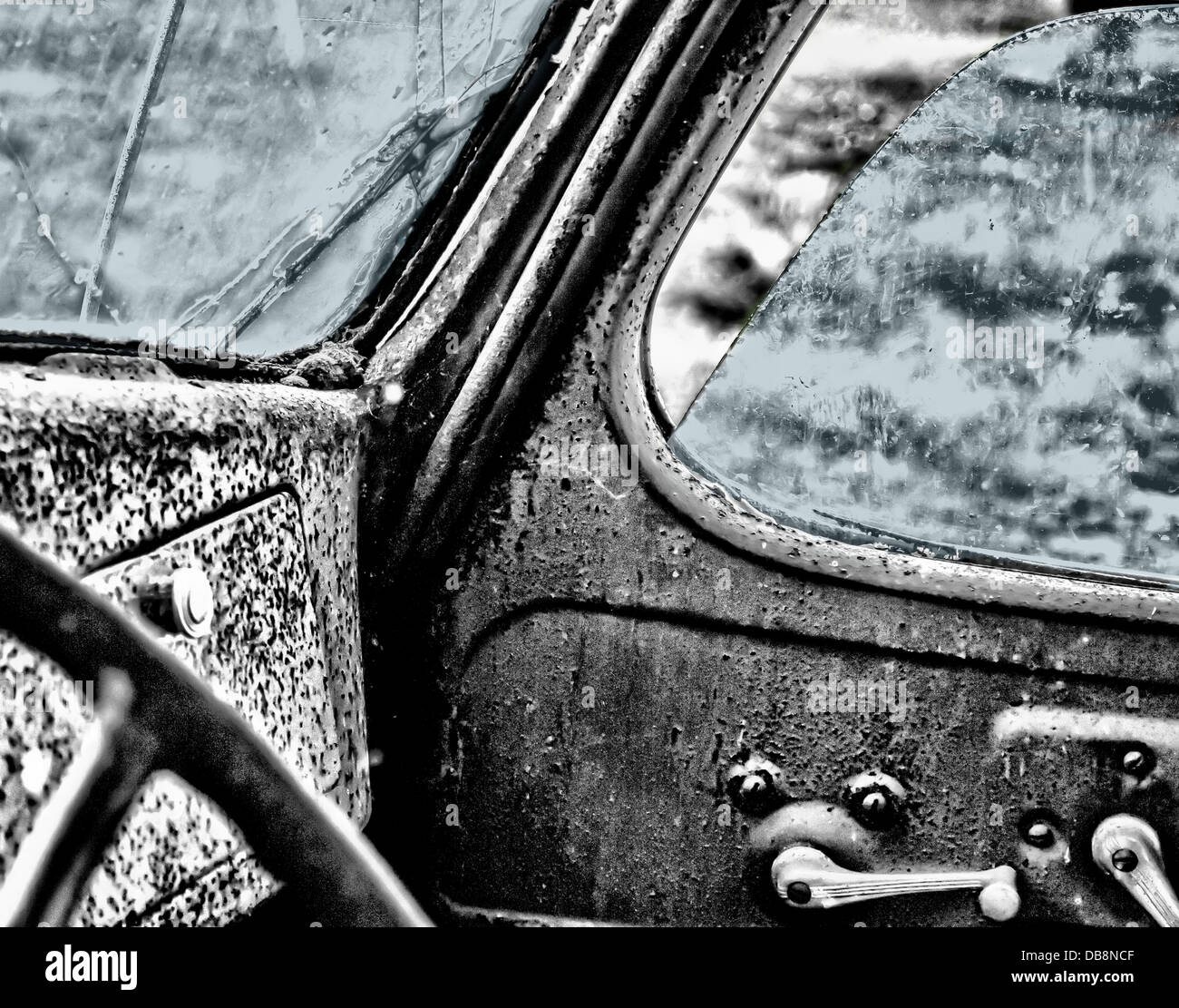 interior truck vintage antique car auto - Stock Image