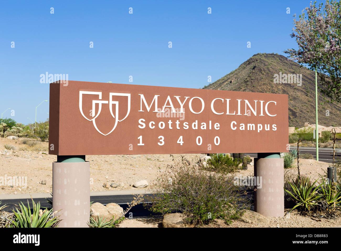 Sign outside the Mayo Clinic, Scottsdale, Arizona, USA - Stock Image