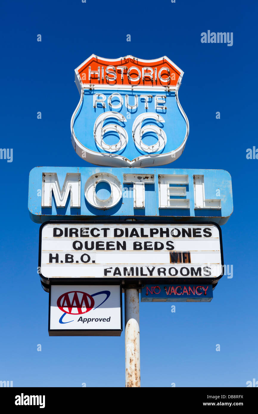 Sign for the Historic Rout 66 Motel, Seligman, Arizona, USA - Stock Image