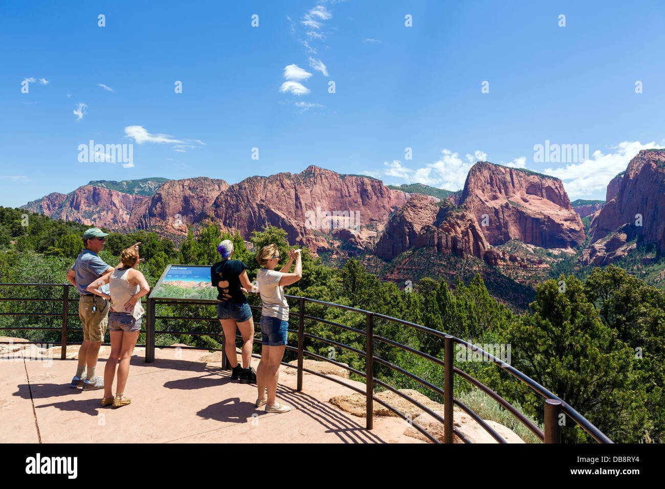 Tourists at an overlook in Kolob Canyons section of Zion National Park, Utah, USA - Stock Image