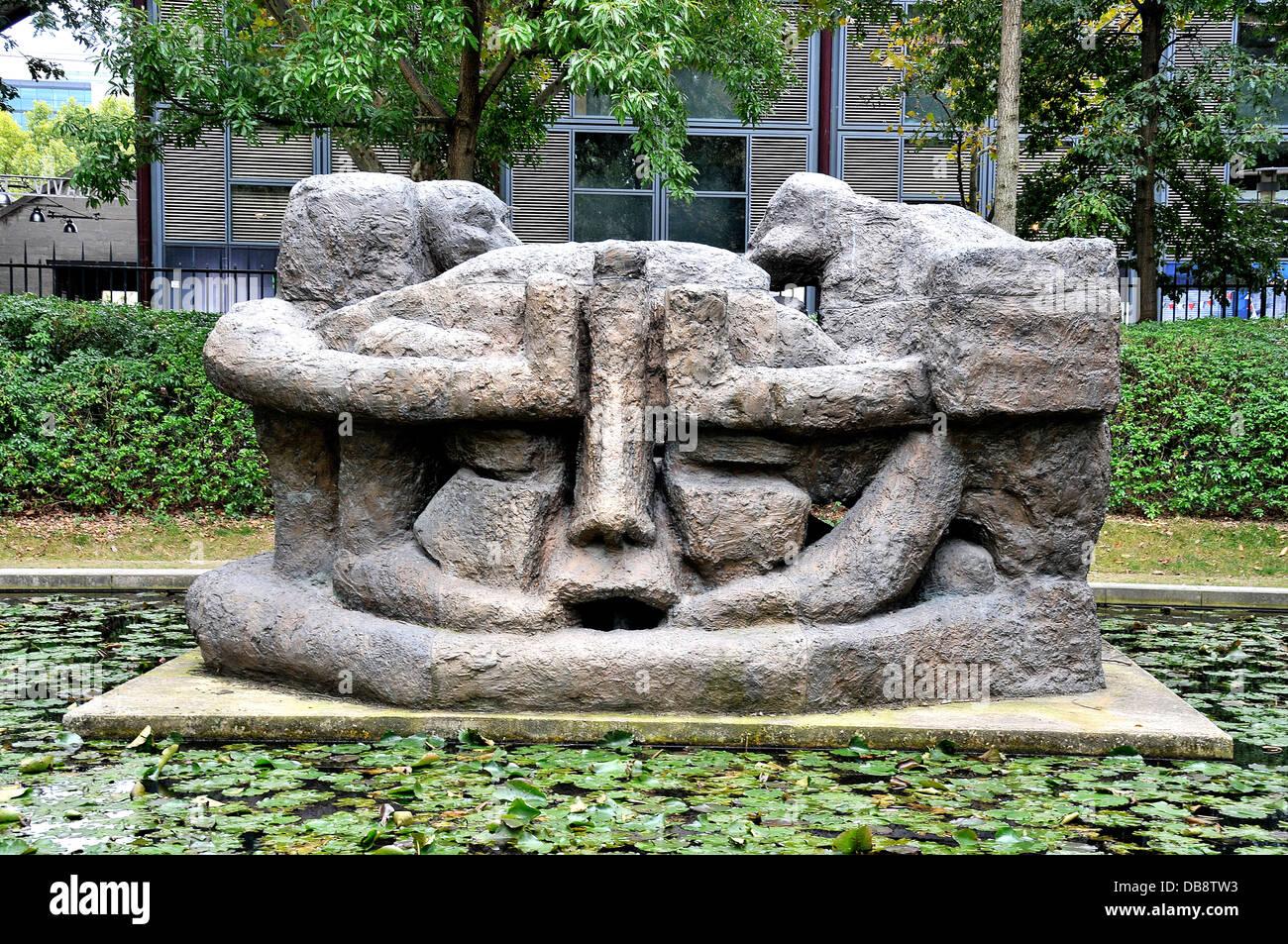 Demeure X modern aquatic sculpture by Etienne Martin in Yitzhak Rabin park Bercy park Paris France Stock Photo