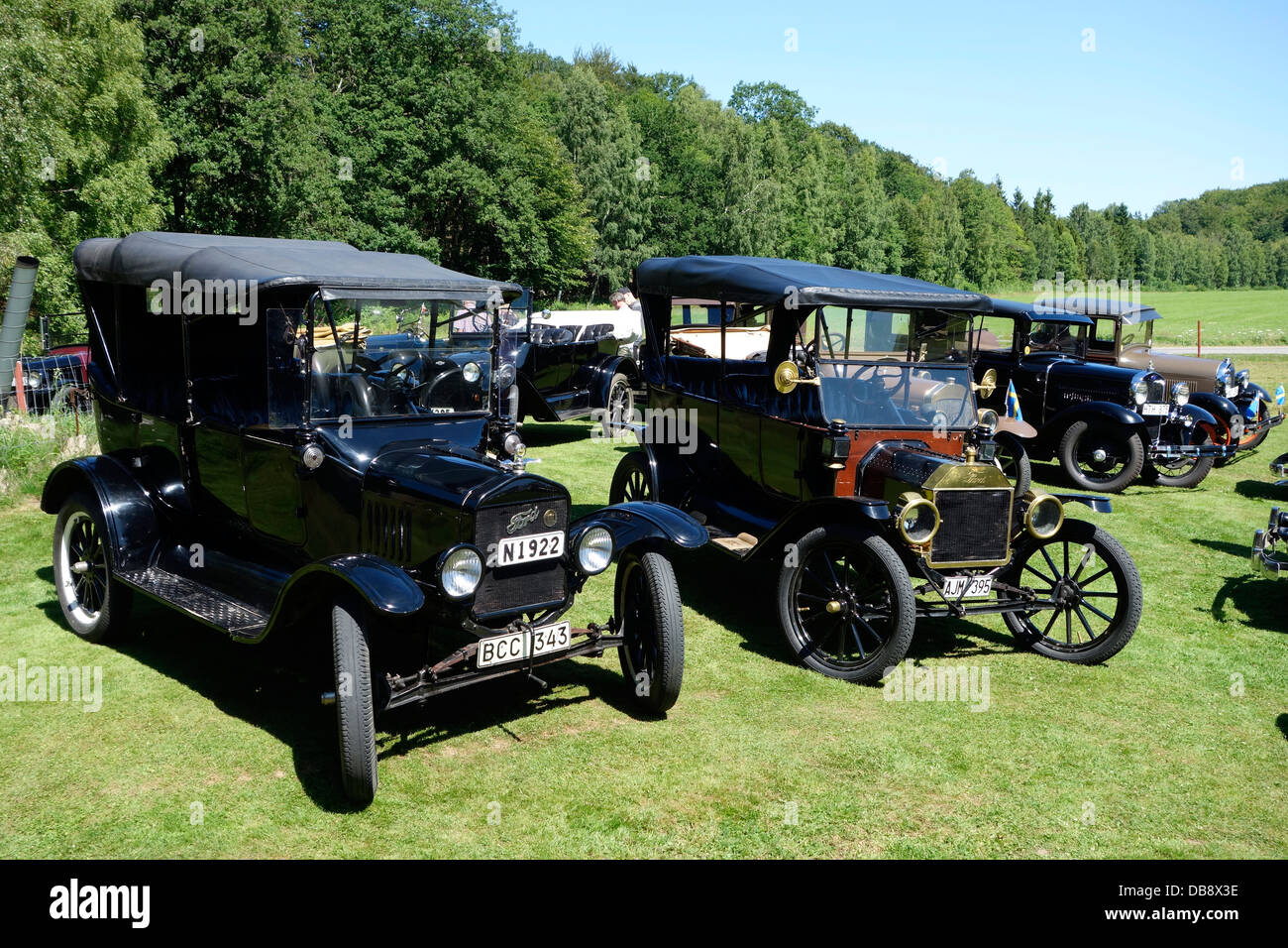 Antique cars meeting. Two Ford T antic cars from 1923 (first) and ...