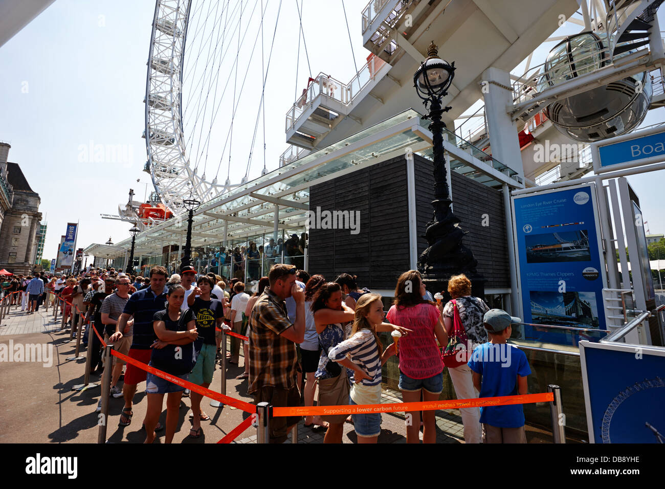 tourists queue to get into the london eye tourist attraction London England UK Stock Photo
