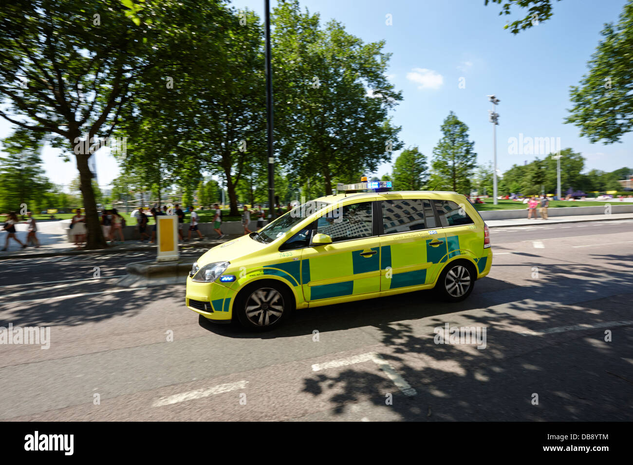 London ambulance service fast response paramedic vehicle speeding along southbank london England UK - Stock Image