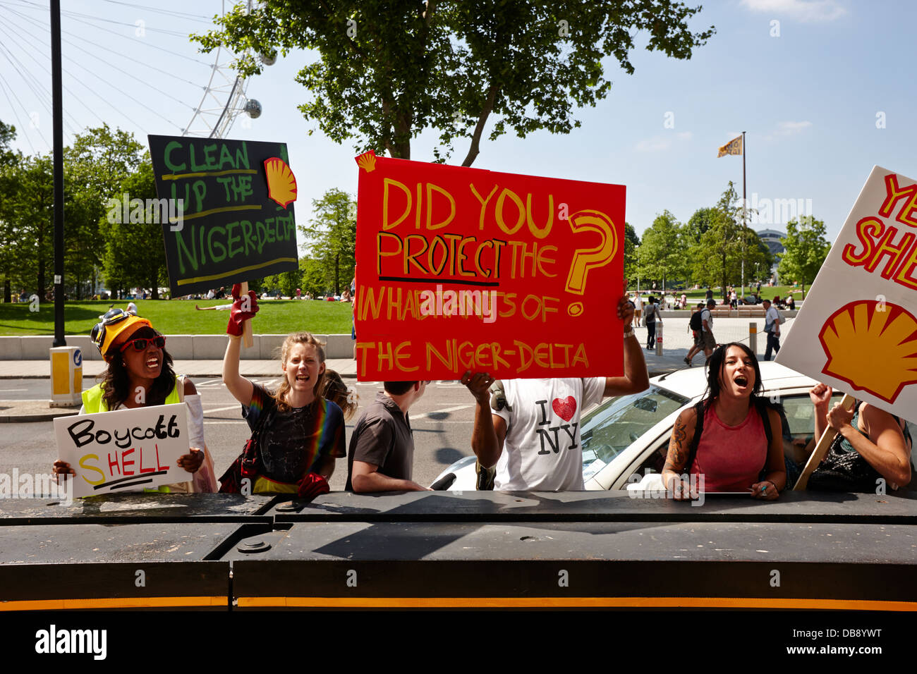 niger delta oil protestors protesting against shell at shell centre southbank London England UK - Stock Image