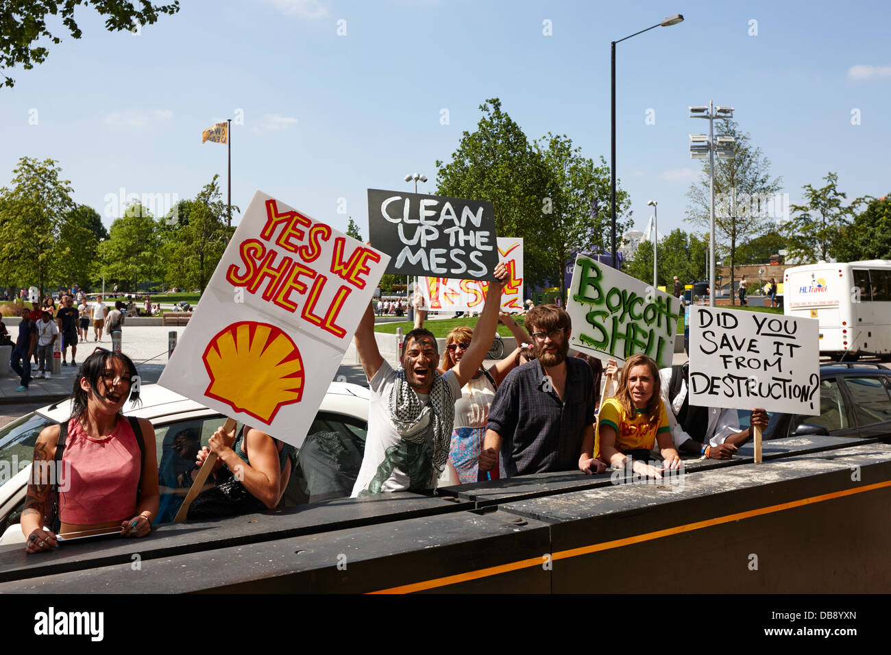 oil protestors protesting against shell at shell centre southbank London England UK - Stock Image